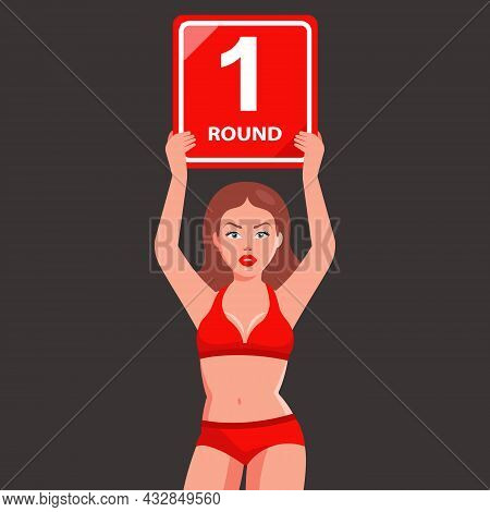 Sports Girl With A Sign In Her Hands Announces The First Round. Sports Duel. Flat Character Vector I
