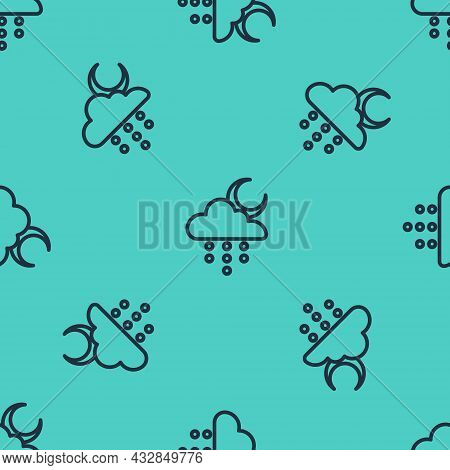 Black Line Cloud With Rain And Moon Icon Isolated Seamless Pattern On Green Background. Rain Cloud P