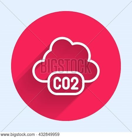White Line Co2 Emissions In Cloud Icon Isolated With Long Shadow. Carbon Dioxide Formula, Smog Pollu