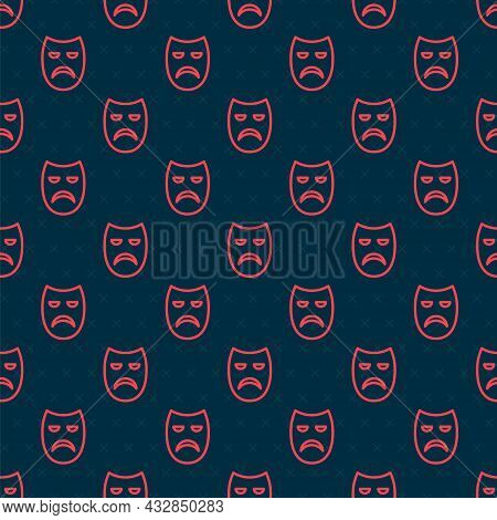 Red Line Drama Theatrical Mask Icon Isolated Seamless Pattern On Black Background. Vector