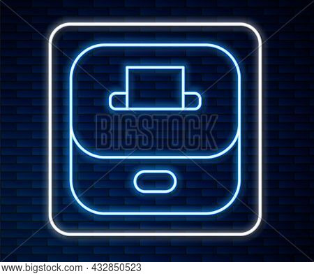 Glowing Neon Line Vote Box Or Ballot Box With Envelope Icon Isolated On Brick Wall Background. Vecto