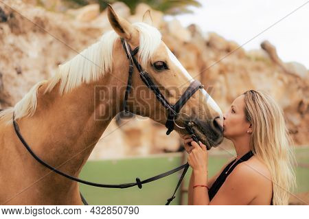 Young Woman Kissing And  Cuddling Her Horse Inside Stable. A Happy Girl Communicates With Her Favori