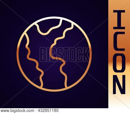 Gold Line Global Economic Crisis Icon Isolated On Black Background. World Finance Crisis. Vector