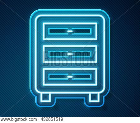 Glowing Neon Line Archive Papers Drawer Icon Isolated On Blue Background. Drawer With Documents. Fil
