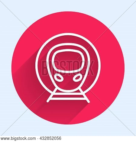White Line Train And Railway Icon Isolated With Long Shadow Background. Public Transportation Symbol
