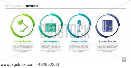 Set Table Lamp, Washbasin Cabinet With Tap, Floor Lamp And Wardrobe. Business Infographic Template.