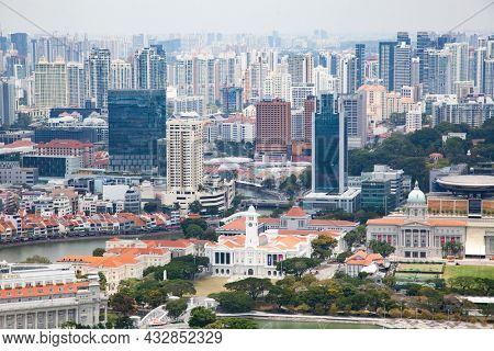 SINGAPORE, SINGAPORE - MARCH 2019: aerial view over Singapore downtown with skyscraper