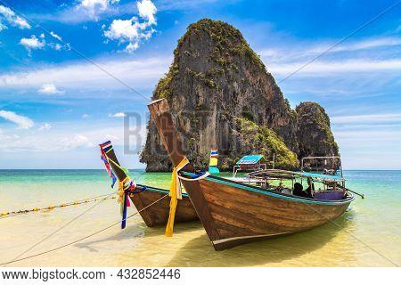 Thai Traditional Wooden Longtail Boat At Phra Nang Beach In Krabi, Ao Nang, Thailand