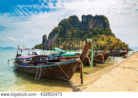 Longtail Boat At Tropical Beach At Koh Phak Bia Island In Krabi Province, Thailand