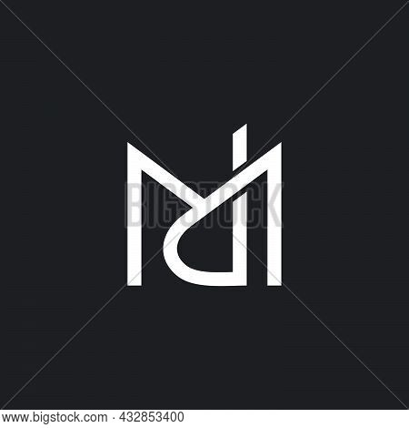 Letter Md Simple Linked Overlap Geometric Line Logo Vector