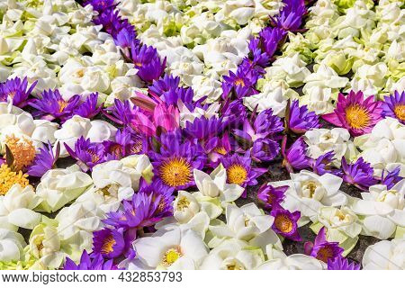 Ceremonial Composition Made Of Lotus Flowers In Big White Ruwanwelisaya Stupa In Anuradhapura Archae