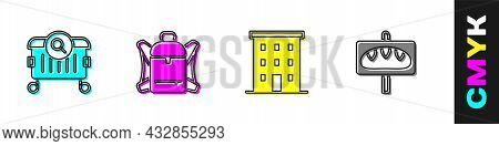Set Searching For Food, Hiking Backpack, Multi Storey Building And Donation Icon. Vector