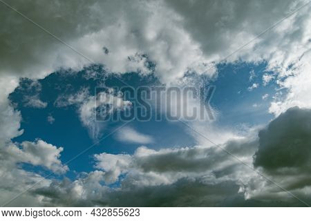 Amazing Cloudscape On The Sky Before The Rain.