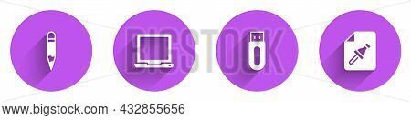 Set Pencil, Laptop, Usb Flash Drive And Note Paper With Push Button Icon With Long Shadow. Vector
