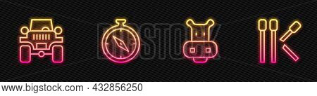 Set Line Hippo Or Hippopotamus, Off Road Car, Compass And Matches. Glowing Neon Icon. Vector