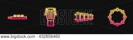 Set Line Xylophone, Drum And Drum Sticks, Guitar And Tambourine. Glowing Neon Icon. Vector