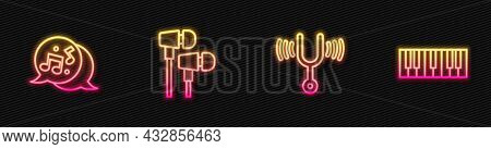 Set Line Musical Tuning Fork, Note, Tone, Air Headphones And Synthesizer. Glowing Neon Icon. Vector