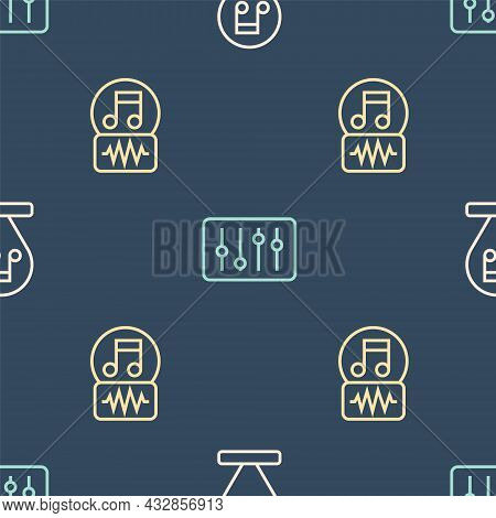 Set Line Music Note, Tone, And Sound Mixer Controller On Seamless Pattern. Vector