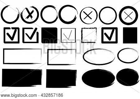 Ink Illustration. Answer Question Sign. Kmark Icon. Cross Icon. Black Frame. Vector Illustration. St