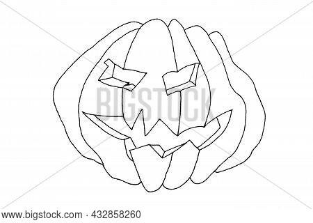 Halloween Jack O 'lantern Pumpkin Outline Isolated On White Background