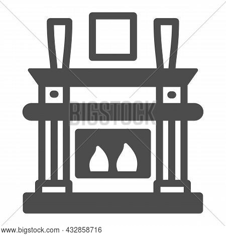 Fireplace, Fireside In Living Room Solid Icon, Interior Design Concept, Chimney Vector Sign On White