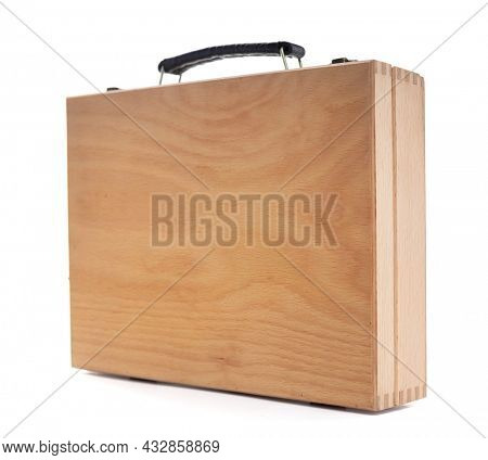 Wooden box isolated on white background. Wood case or toolbox