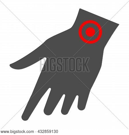 Arm Wrist Hurts Solid Icon, Body Pain Concept, Wrist Pain Vector Sign On White Background, Glyph Sty