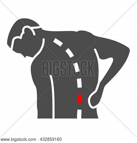 Lower Back Hurts Solid Icon, Body Pain Concept, Spinal Pain Vector Sign On White Background, Glyph S