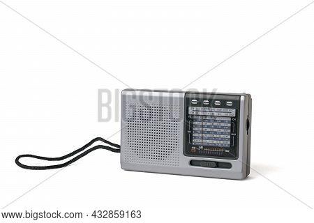 Grey Retro Radio Isolated On A White Background. Vintage Radio Equipment.