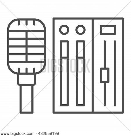 Microphone And Sound Controller Thin Line Icon, Music Concept, Mic And Audio Mixer Vector Sign On Wh