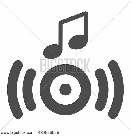 Music From The Speaker, Sound Wave And Note Solid Icon, Sound Concept, Loudspeaker Vector Sign On Wh