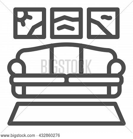 Carpet, Sofa, Panoramic Painting Line Icon, Design Concept, Couch In Living Room Vector Sign On Whit