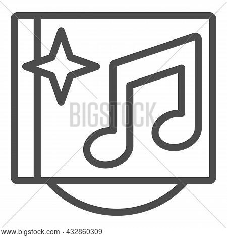 Musical Cd Cover With Star And Note Line Icon, Sound Design Concept, Music Album Vector Sign On Whit