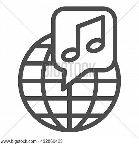 Globe With Note, Music Worldwide Line Icon, Music Concept, International Music Vector Sign On White