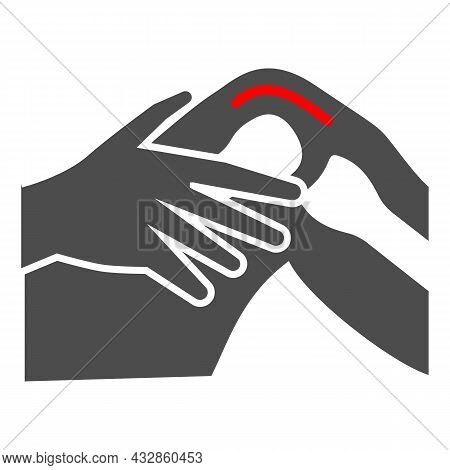 Knee Joint Hurts Solid Icon, Body Pain Concept, Joint Strain Ache Vector Sign On White Background, G