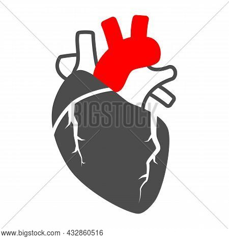 Heart Valve Problem Solid Icon, Body Pain Concept, Heart Valves Disease Vector Sign On White Backgro