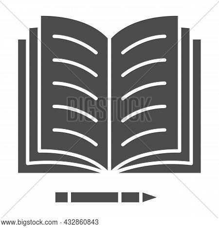Notes In Open Notebook And Pencil Solid Icon, Education Concept, Copy Book And Pen Vector Sign On Wh