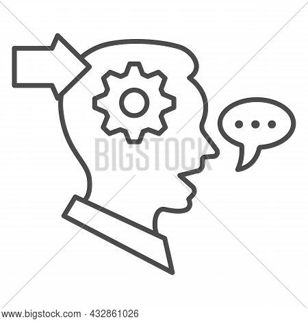 Man With Gear In Head, Arrow, Speech Bubble Thin Line Icon, Thought Concept, Interpreter Vector Sign
