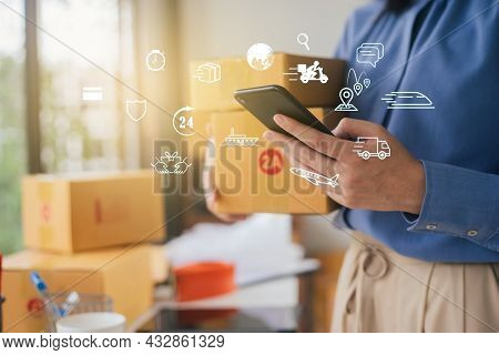 Close Up Hand Of Businesswoman Holding Use Smartphone Contact Transportation Service For Parcel Ship
