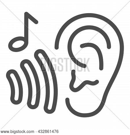 Ear With Sound Wave And Note, Listen To Music Line Icon, Sound Design Concept, Hear Vector Sign On W