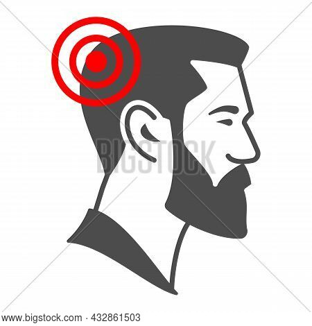 Man Has Headache Solid Icon, Body Pain Concept, Person Has Migraine Vector Sign On White Background,