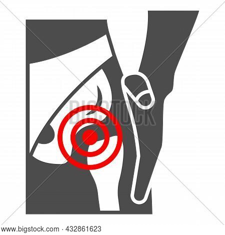 Femoral Neck Fracture Solid Icon, Body Pain Concept, Groin Ache Vector Sign On White Background, Gly