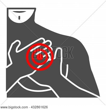 Chest Pain In The Region Of Heart Solid Icon, Body Pain Concept, Heart Attack Vector Sign On White B