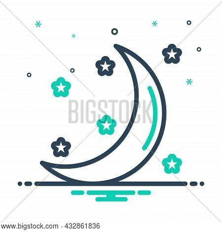 Mix Icon For Moon Moonlight Galaxy Heaven Crescent Night Celestial Satellite Cosmos Nighttime