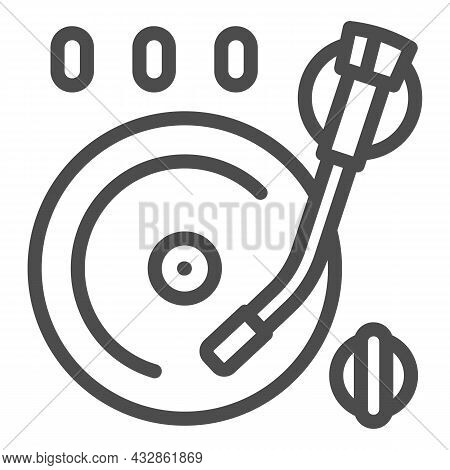 Vinyl Plate On Record Player Line Icon, Sound Design Concept, Record On Turntable Vector Sign On Whi