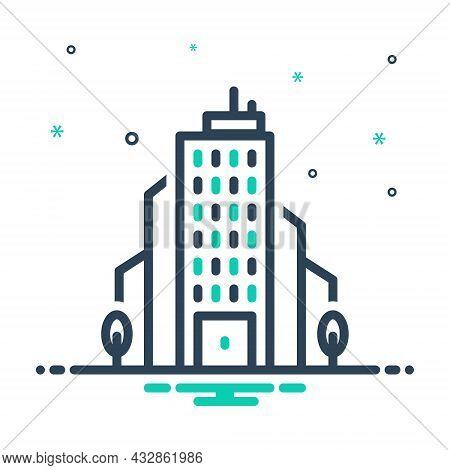 Mix Icon For Corporation Office Bureau House Association Business Company Enterprise Society