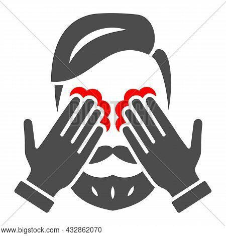Man Eyes Hurt And Itch Solid Icon, Body Pain Concept, Person Has Eye Problems Vector Sign On White B