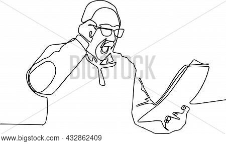 Shocked Mature Man Looking At A Document. Vector Illustration
