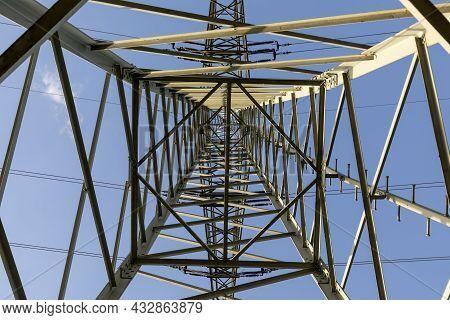 High-voltage Power Lines.electricity Pylon, Electricity Transmission Power Lines Under Blue Sky