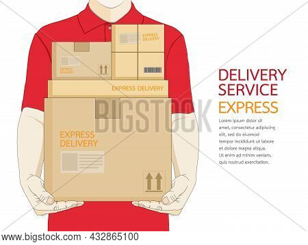 Man Parcel Delivery Staff In Red Uniform Holding Packaging Box. Fast Delivery Service Courier Packag